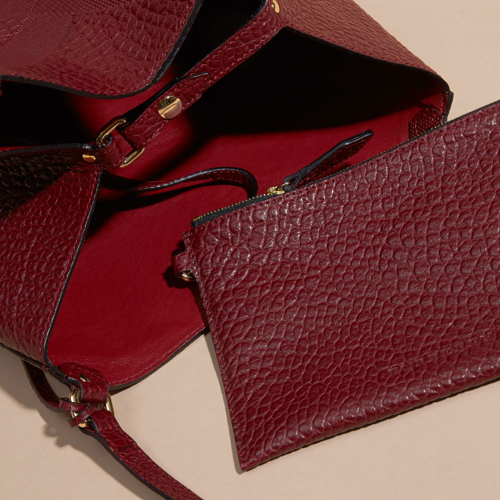 Deep red The Small Canter in Embossed Check Leather Deep Red - gallery image 5