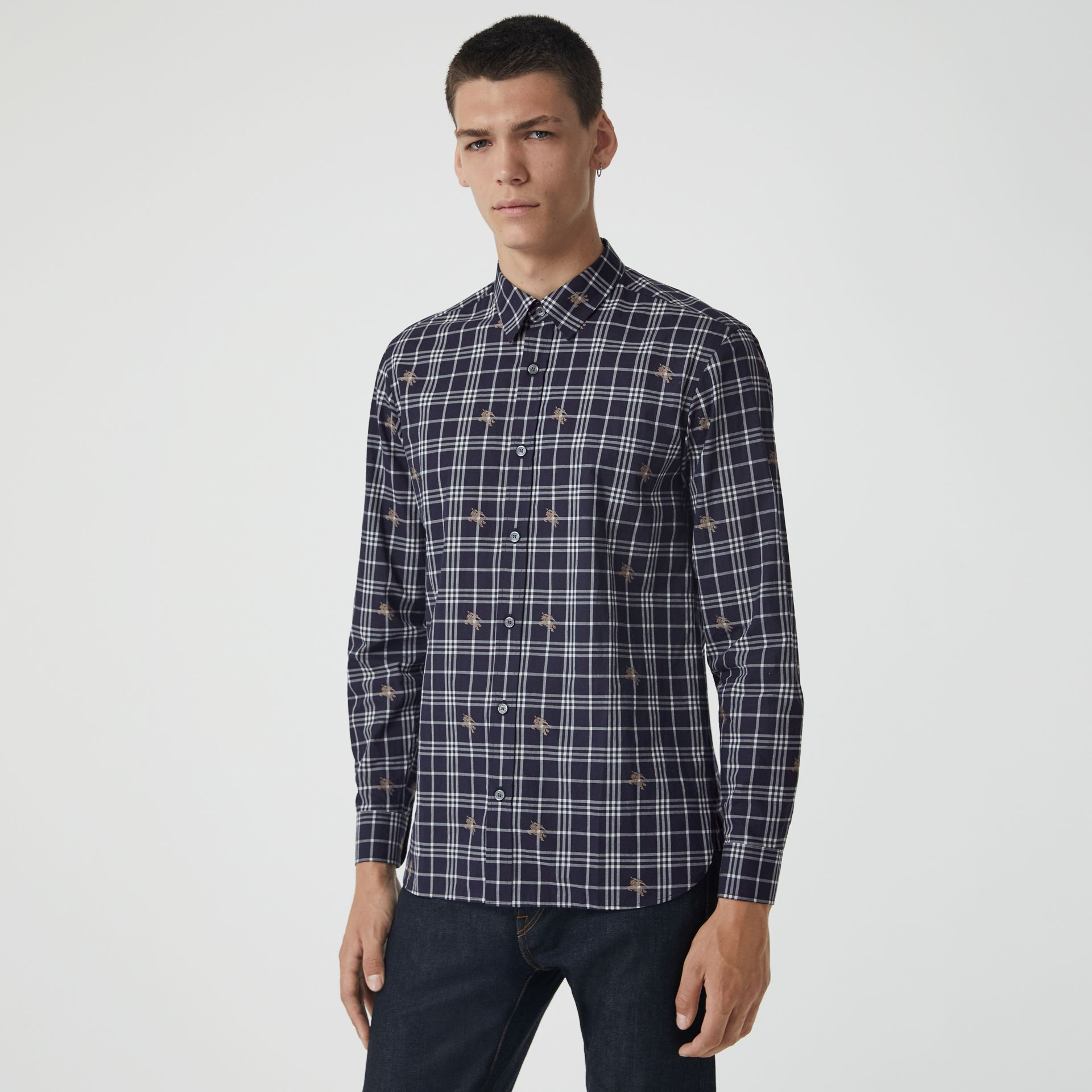 Equestrian Knight Check Cotton Shirt in Navy - Men | Burberry Australia - gallery image 0