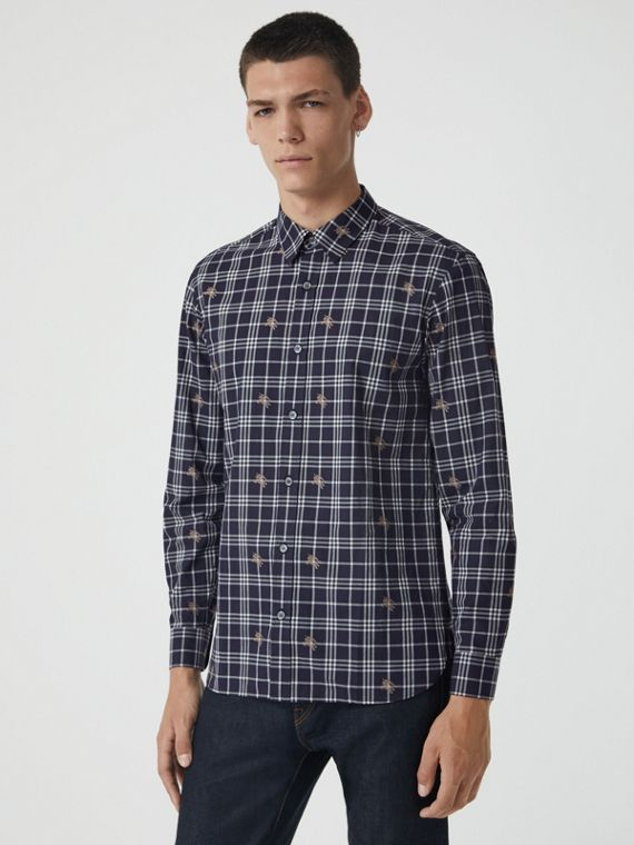 Equestrian Knight Check Cotton Shirt in Navy
