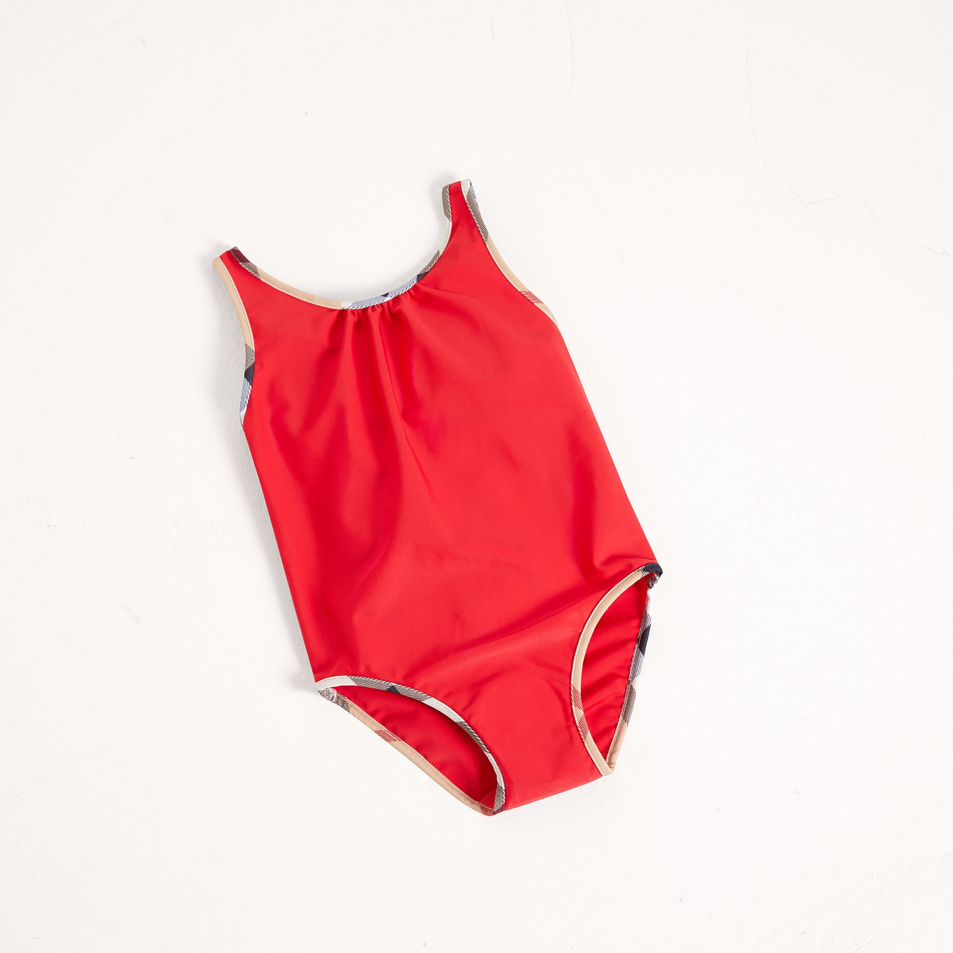 Check Detail One-piece Swimsuit in Poppy Red - Girl | Burberry United Kingdom - gallery image 0