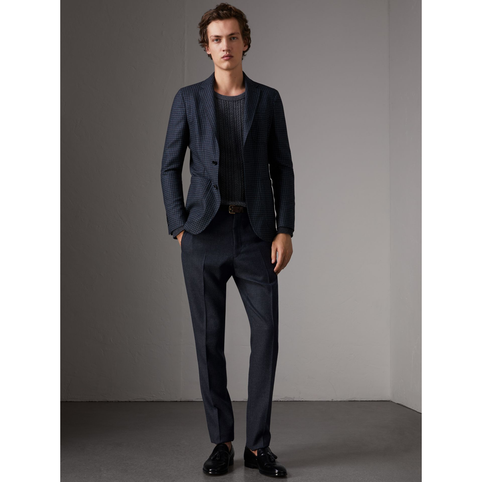 Wool Tailored Trousers in Navy - Men | Burberry Hong Kong - gallery image 1
