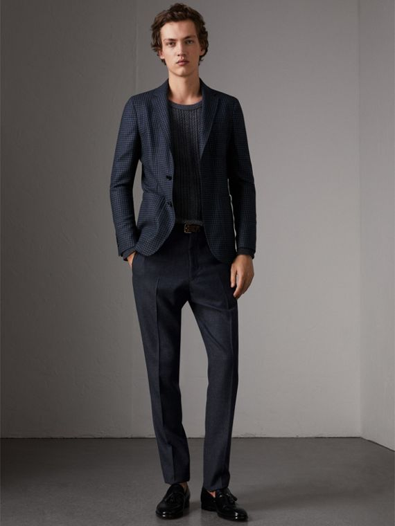 Wool Tailored Trousers in Navy