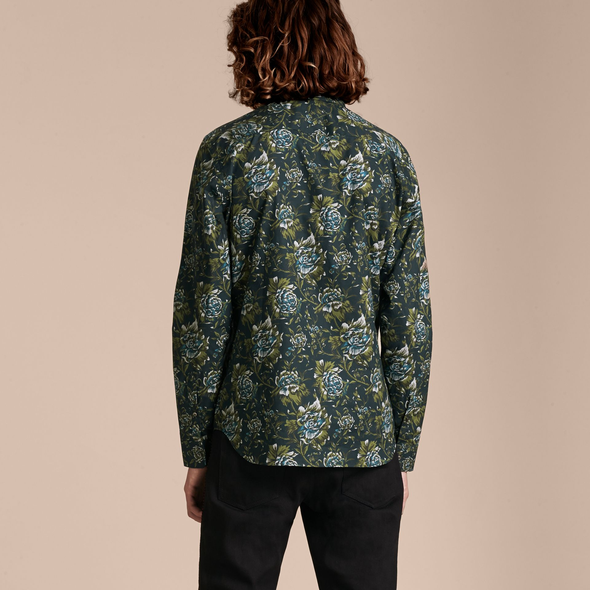 Dark teal green Peony Rose Print Cotton Poplin Shirt - gallery image 3