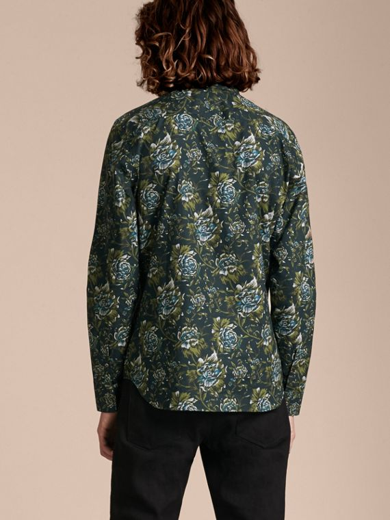 Dark teal green Peony Rose Print Cotton Poplin Shirt - cell image 2