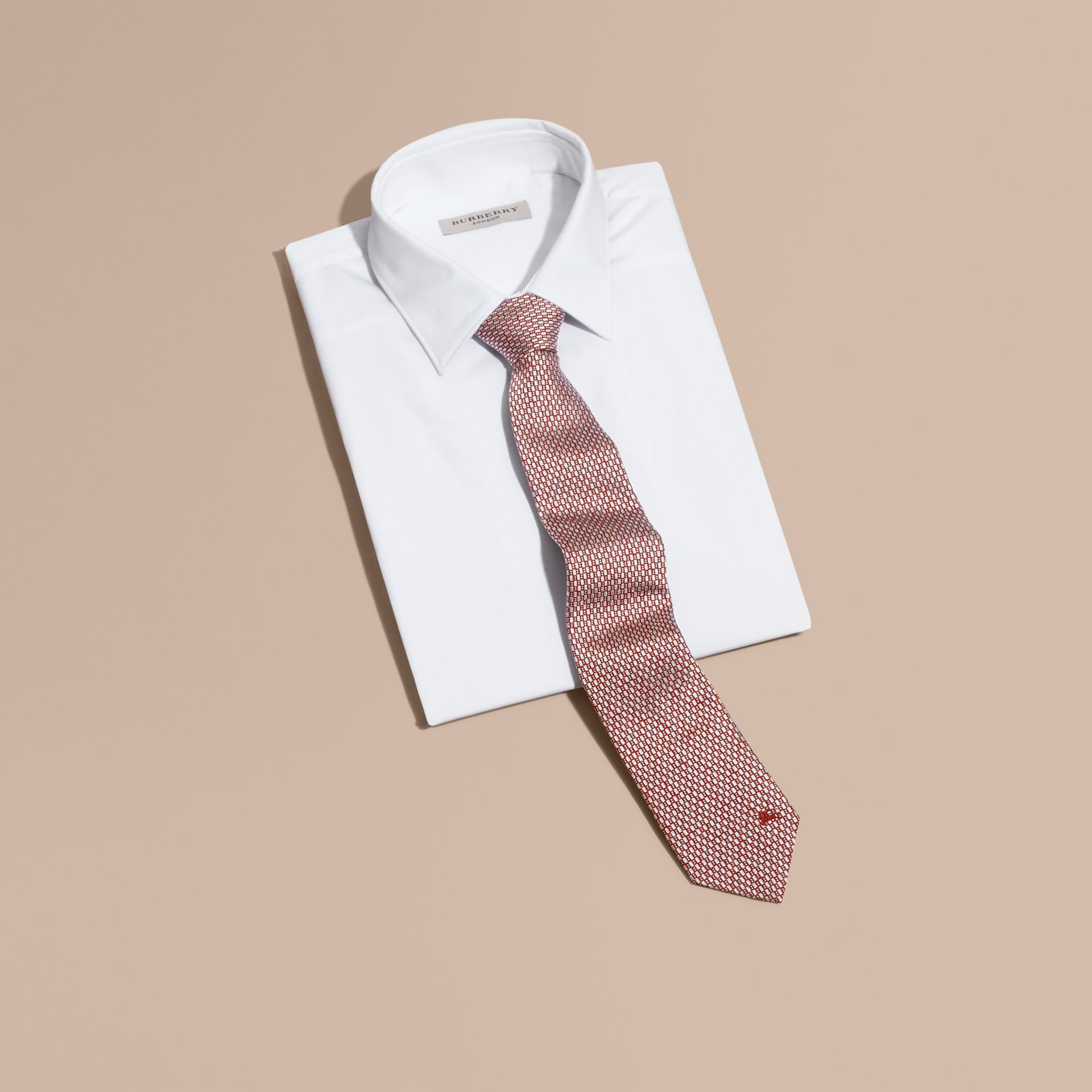 Modern Cut Silk Jacquard Tie in Parade Red - gallery image 4