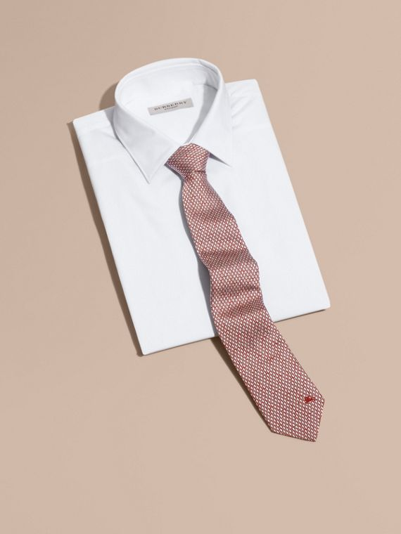 Modern Cut Silk Jacquard Tie in Parade Red - cell image 3