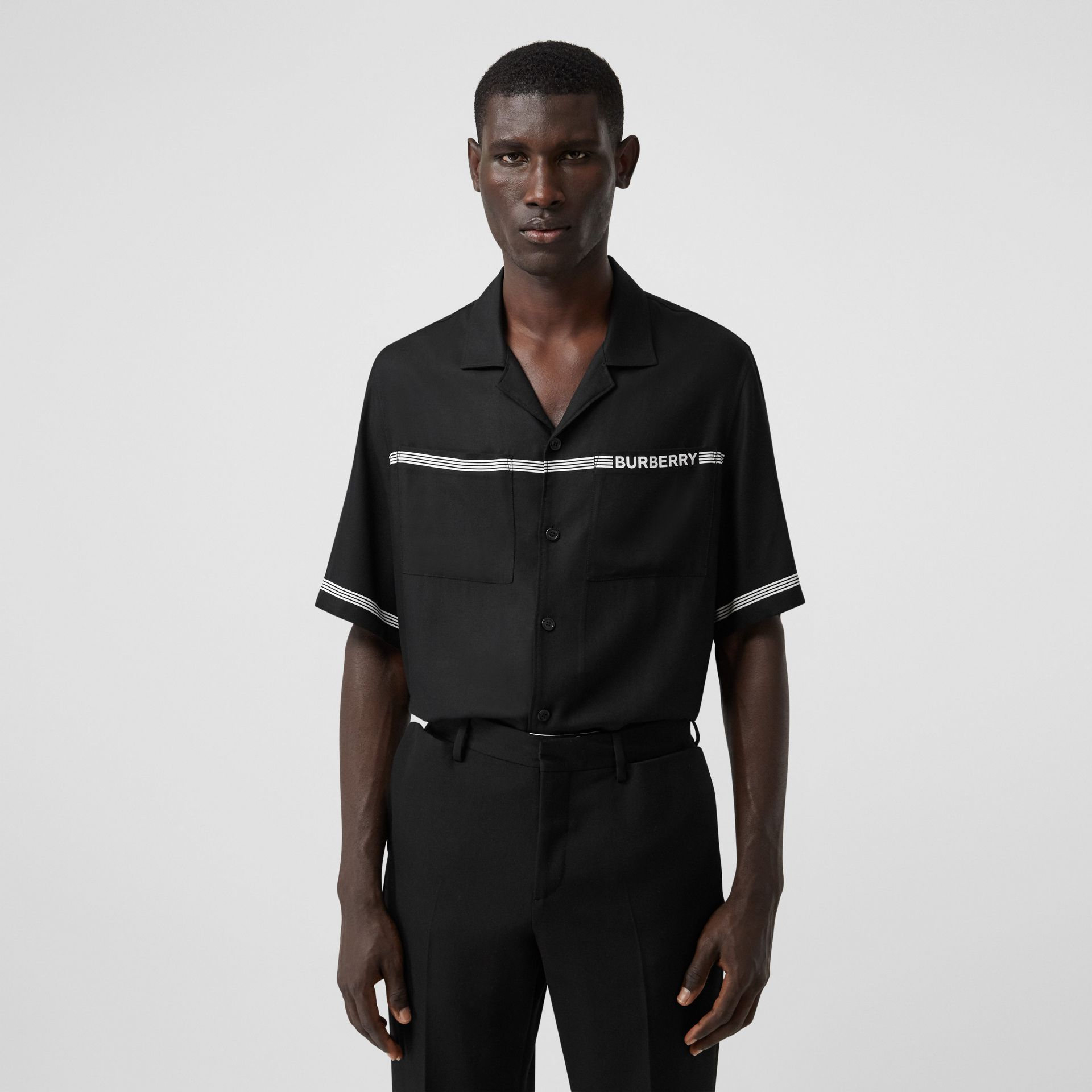 Short-sleeve Logo Print Twill Shirt in Black | Burberry - gallery image 0