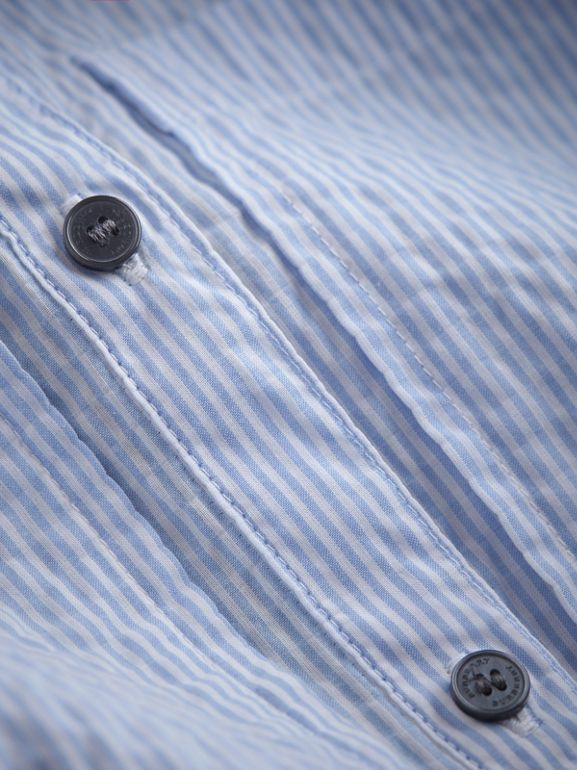 Bow Detail Striped Cotton Seersucker Shirt in Light Blue | Burberry - cell image 1