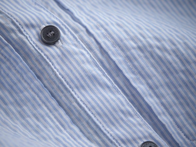 Bow Detail Striped Cotton Seersucker Shirt in Light Blue - Girl | Burberry - cell image 1
