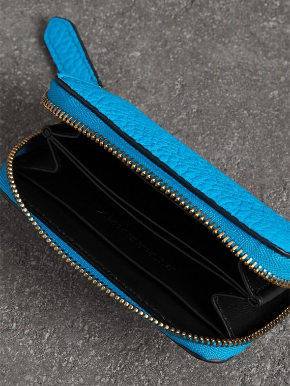 Embossed Leather Ziparound Coin Case in Neon Blue - Men | Burberry United Kingdom - cell image 3