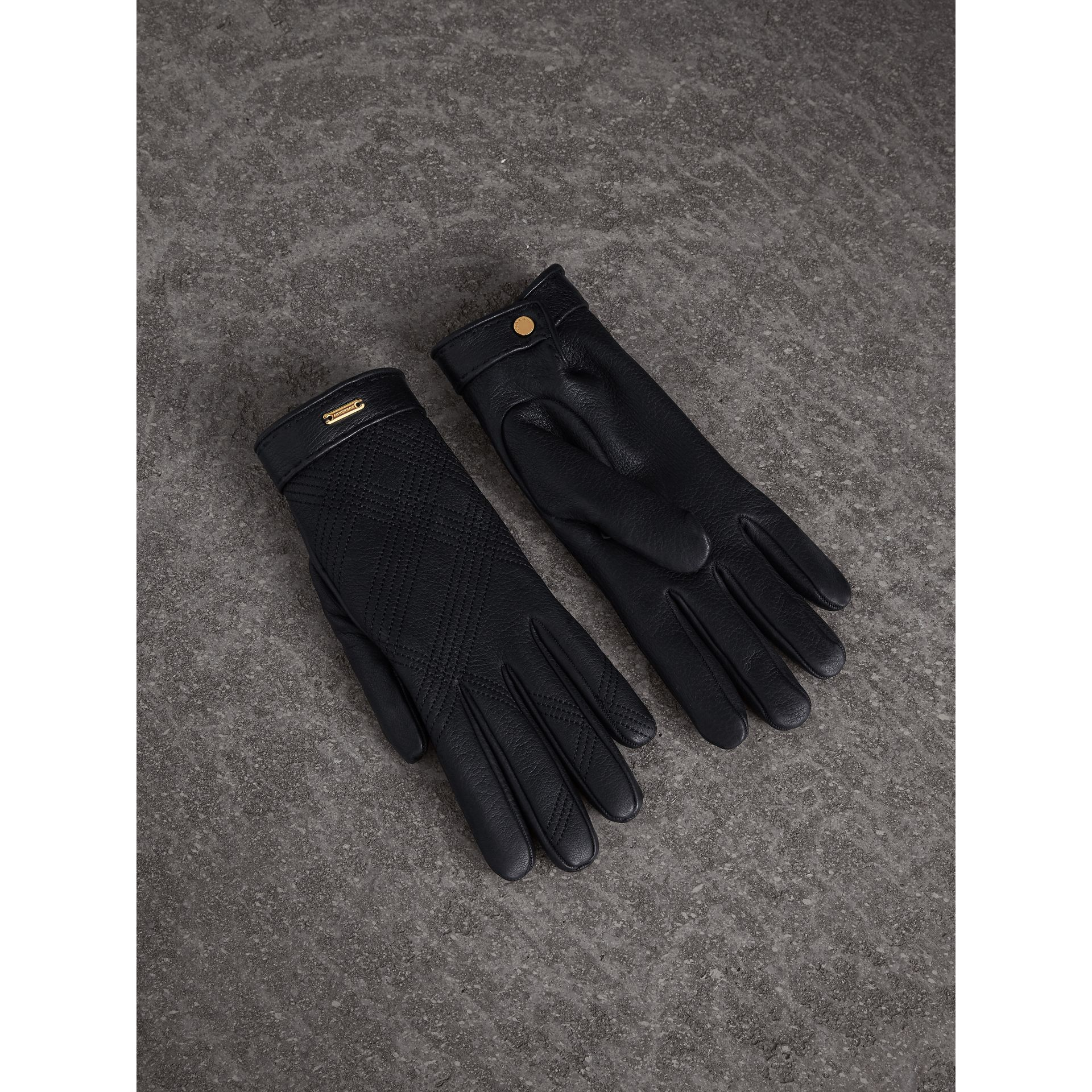 Check Embroidered Lambskin Gloves in Black - Women | Burberry - gallery image 1