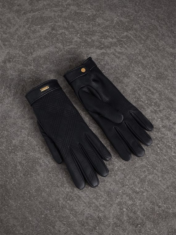 Check Embroidered Lambskin Gloves in Black