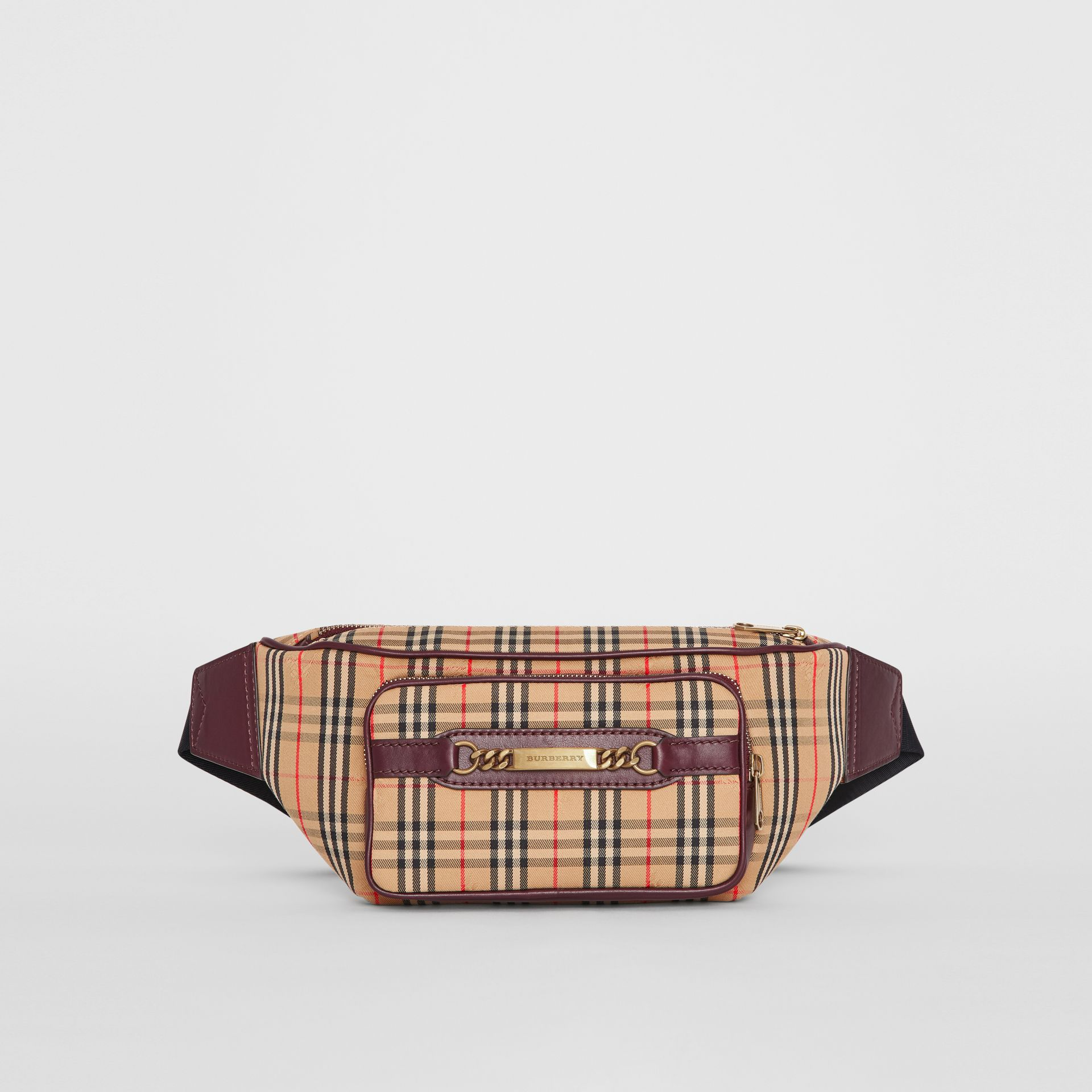 The Large 1983 Check Link Bum Bag in Oxblood - Men | Burberry - gallery image 2
