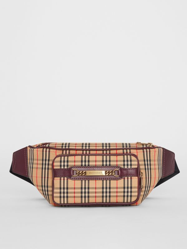 The Large 1983 Check Link Bum Bag in Oxblood - Men | Burberry Australia - cell image 2