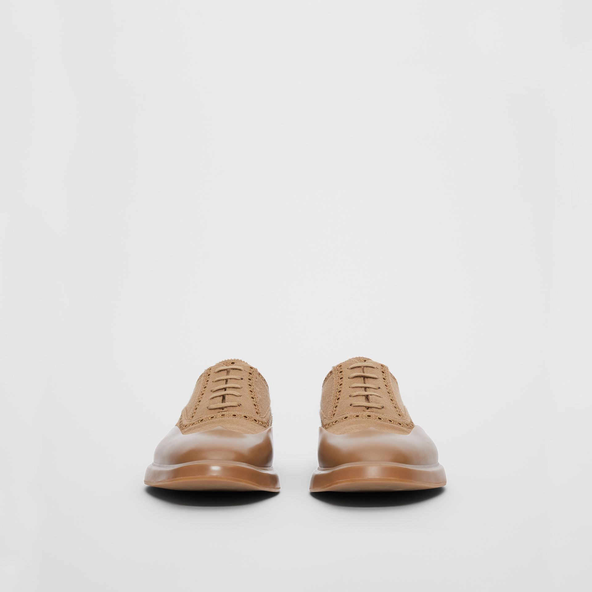 Toe Cap Detail Wool Oxford Brogues in Warm Camel - Men | Burberry - gallery image 3