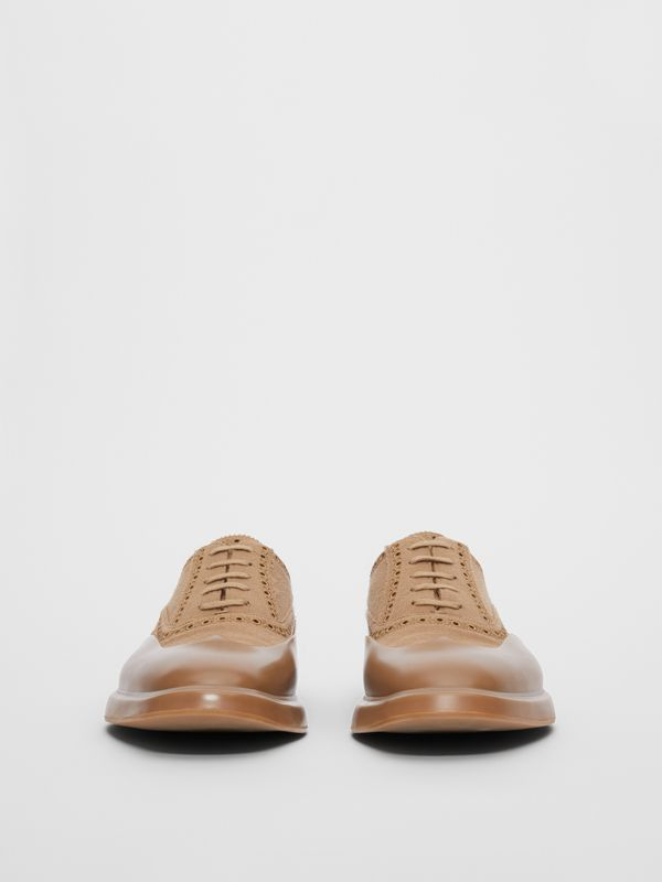 Toe Cap Detail Wool Oxford Brogues in Warm Camel - Men | Burberry - cell image 3