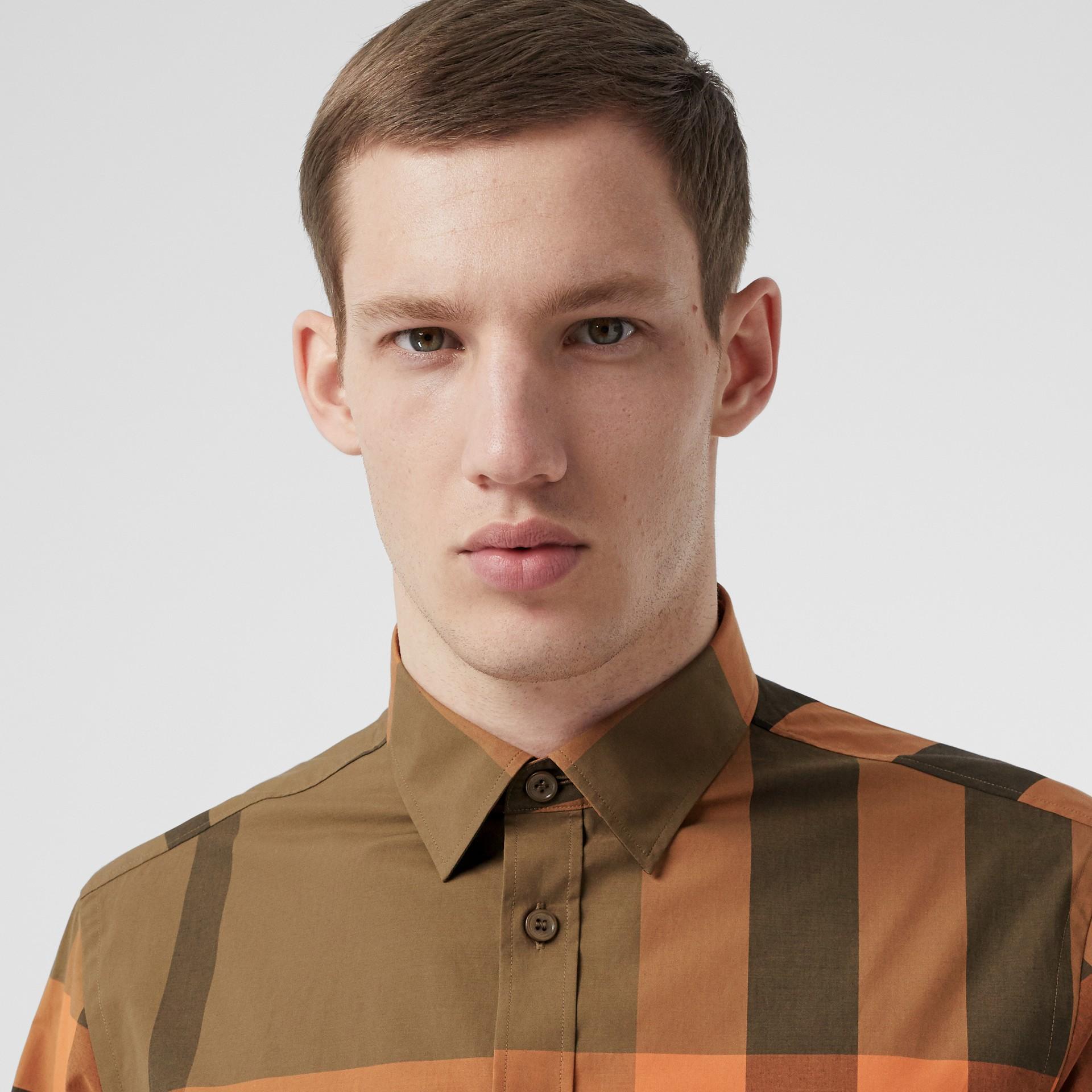 Check Stretch Cotton Poplin Shirt in Bright Orange - Men | Burberry - gallery image 1