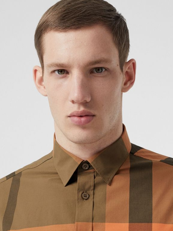 Check Stretch Cotton Poplin Shirt in Bright Orange - Men | Burberry - cell image 1