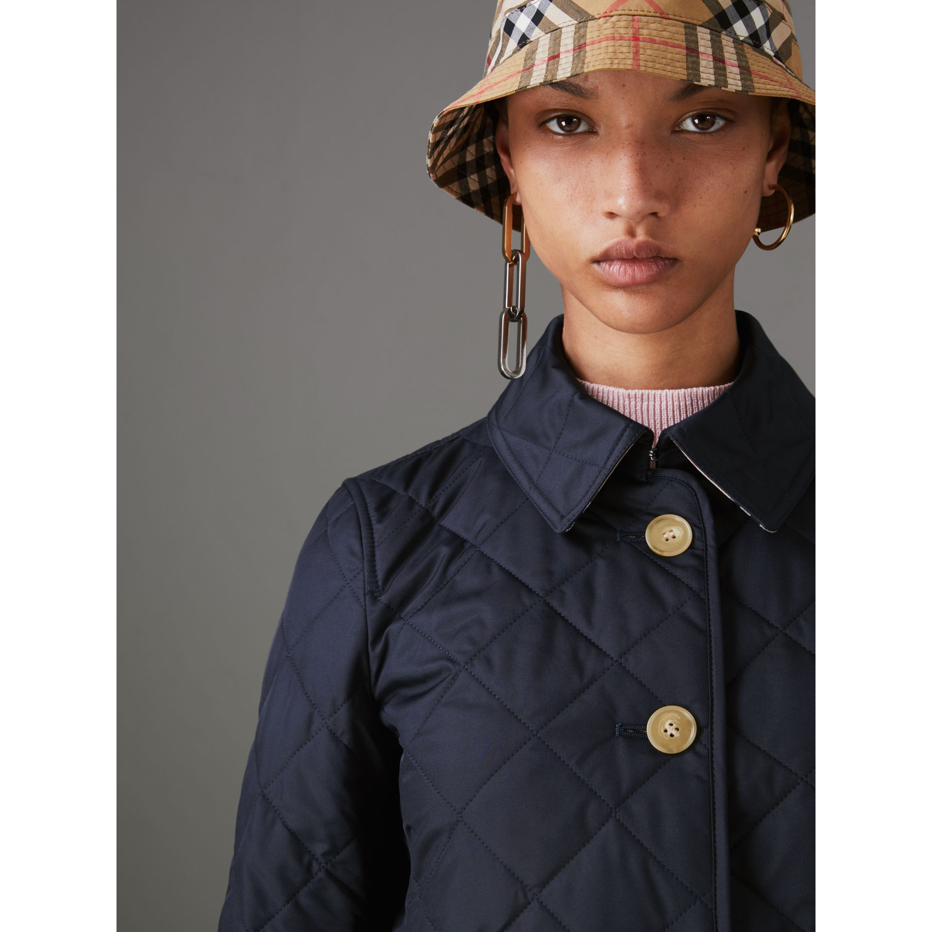 Diamond Quilted Jacket in Navy - Women | Burberry - gallery image 1