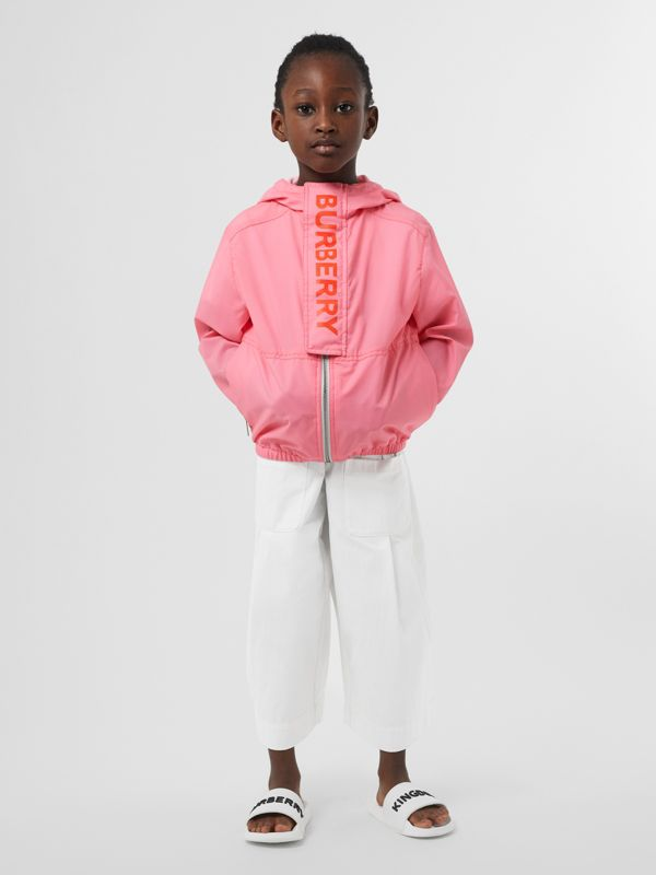 Logo Print Lightweight Hooded Jacket in Bright Rose | Burberry - cell image 2