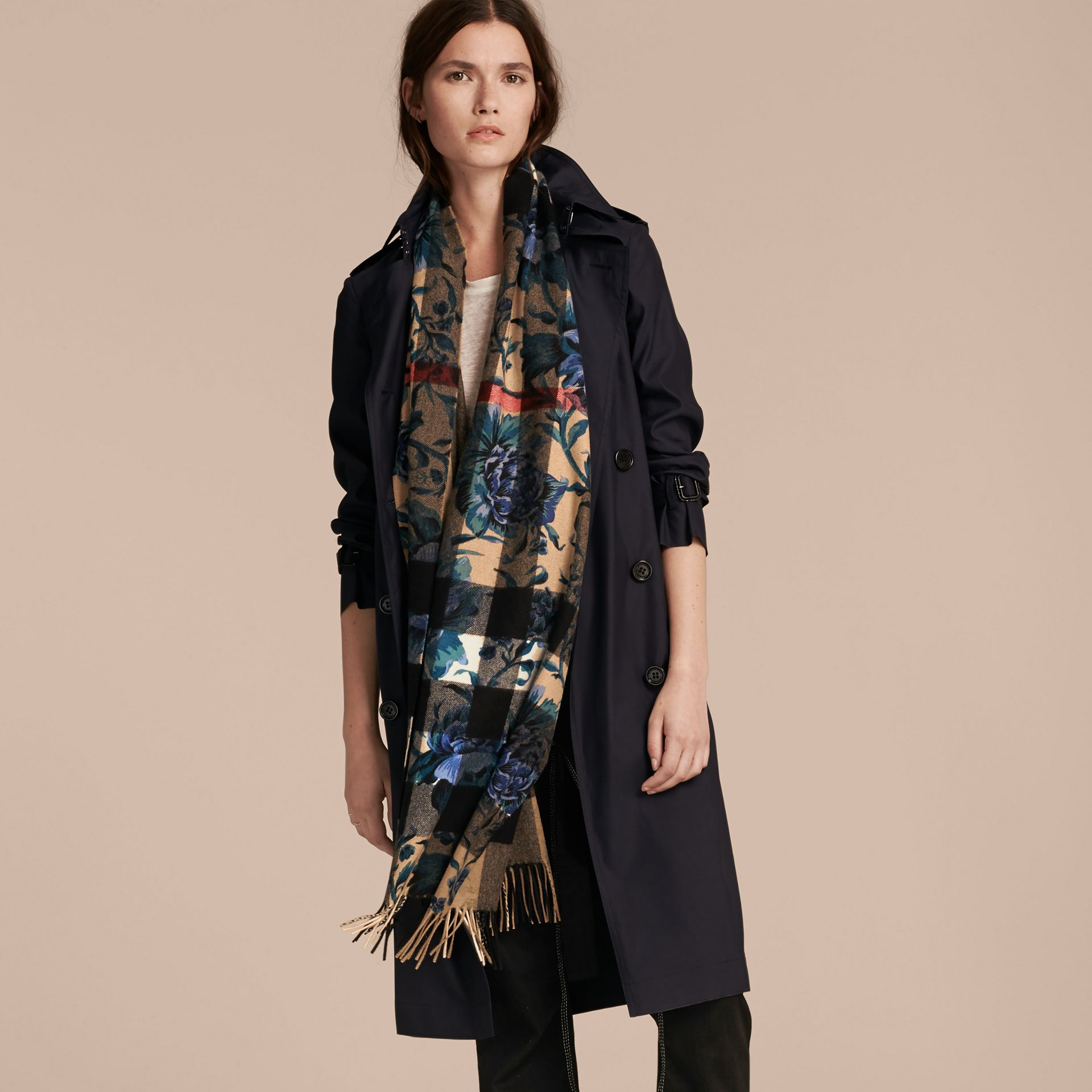 Reversible Floral Print and Check Cashmere Scarf - gallery image 3