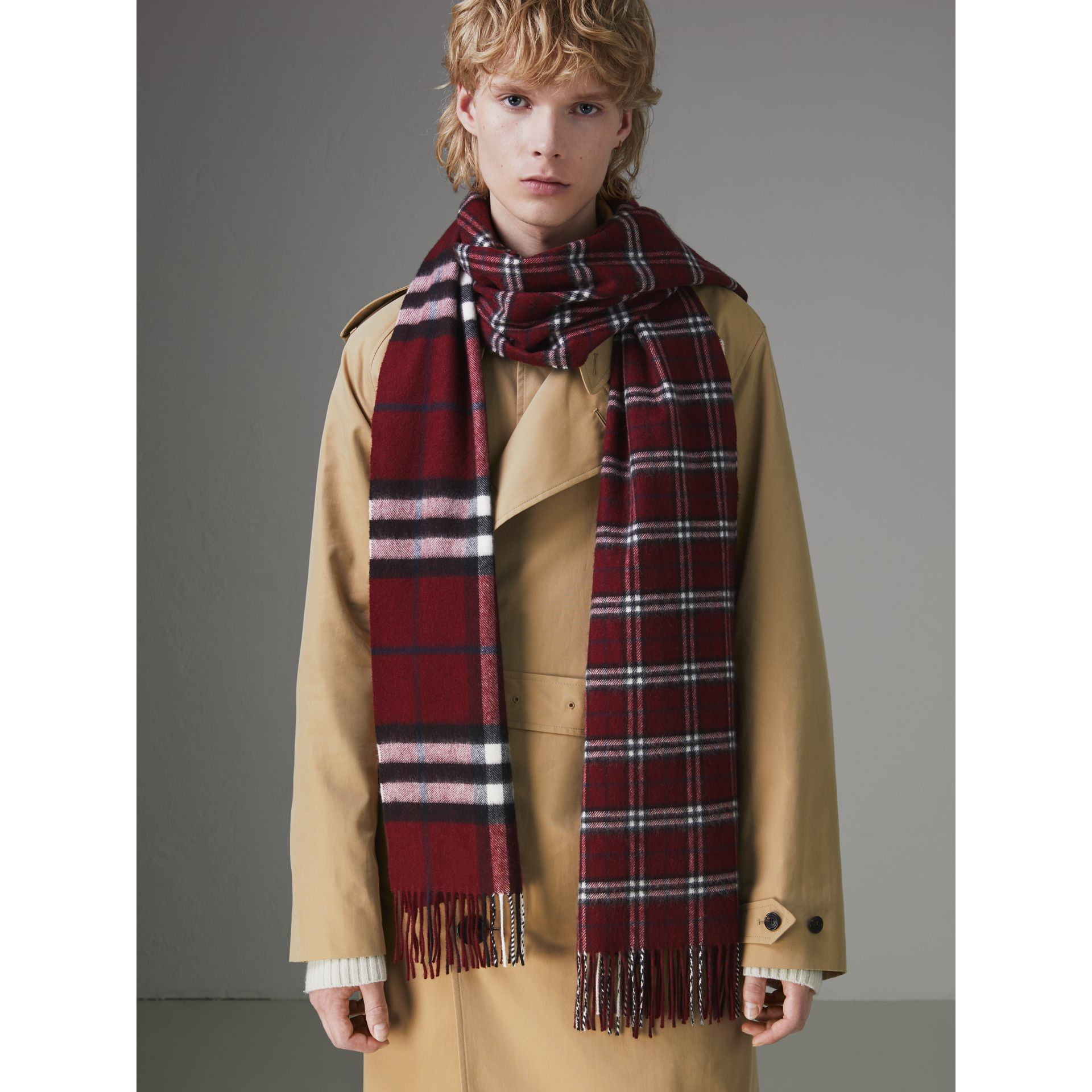 Gosha x Burberry Check Cashmere Double Scarf in Claret | Burberry - gallery image 5