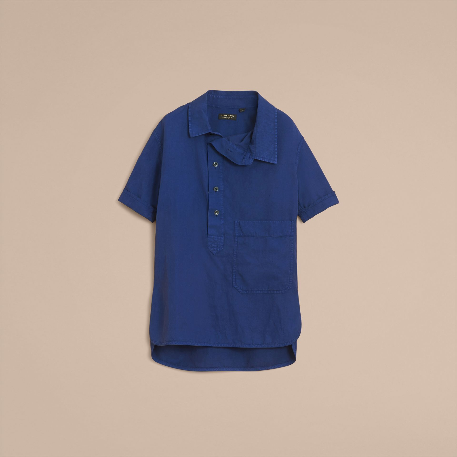 Unisex Short-sleeve Lyocell Linen Cotton Smock Shirt in Dark Blue - Men | Burberry - gallery image 4
