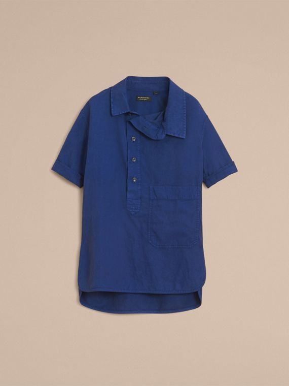 Unisex Short-sleeve Lyocell Linen Cotton Smock Shirt in Dark Blue - Men | Burberry - cell image 3