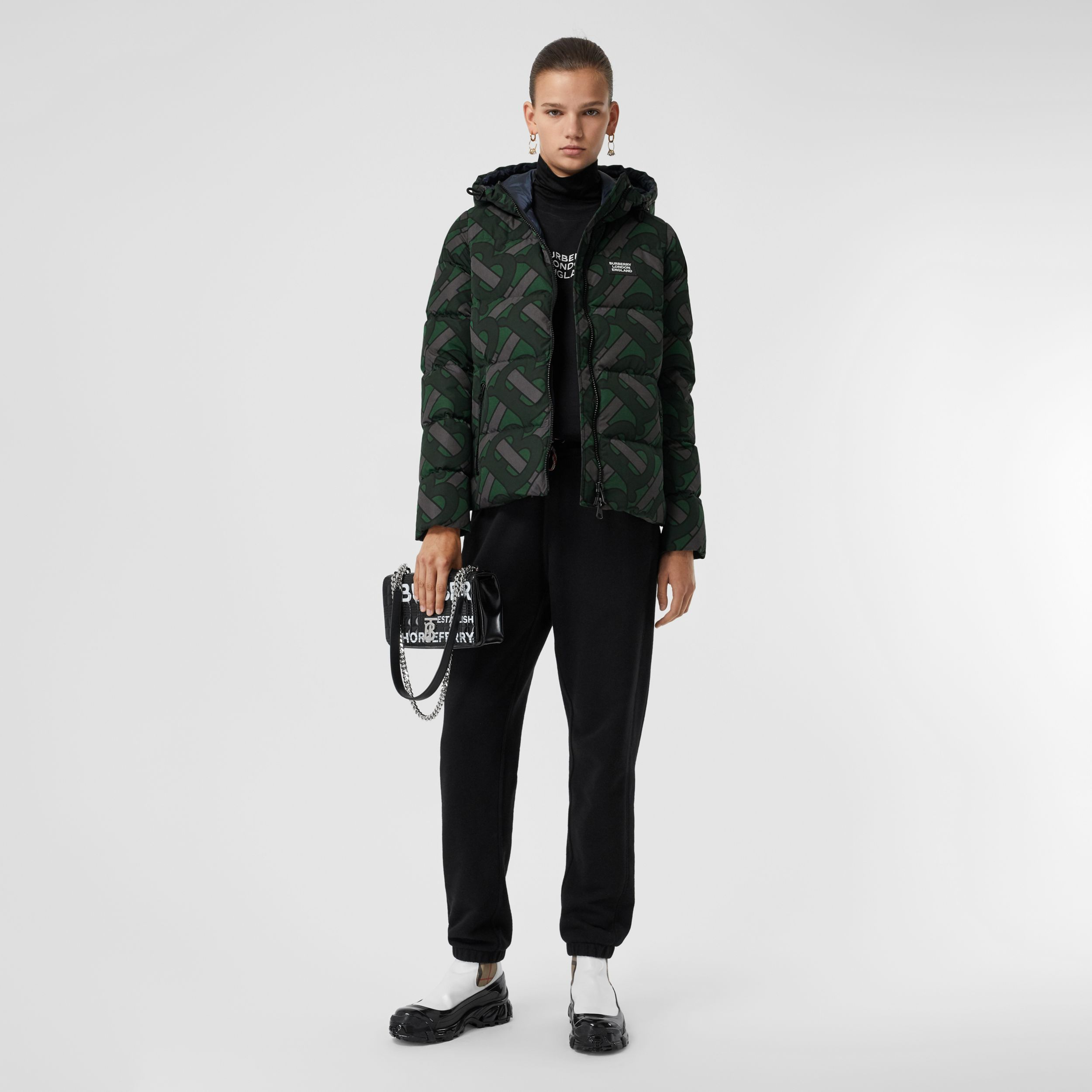 Monogram Print Hooded Puffer Jacket in Forest Green - Women | Burberry United Kingdom - 4