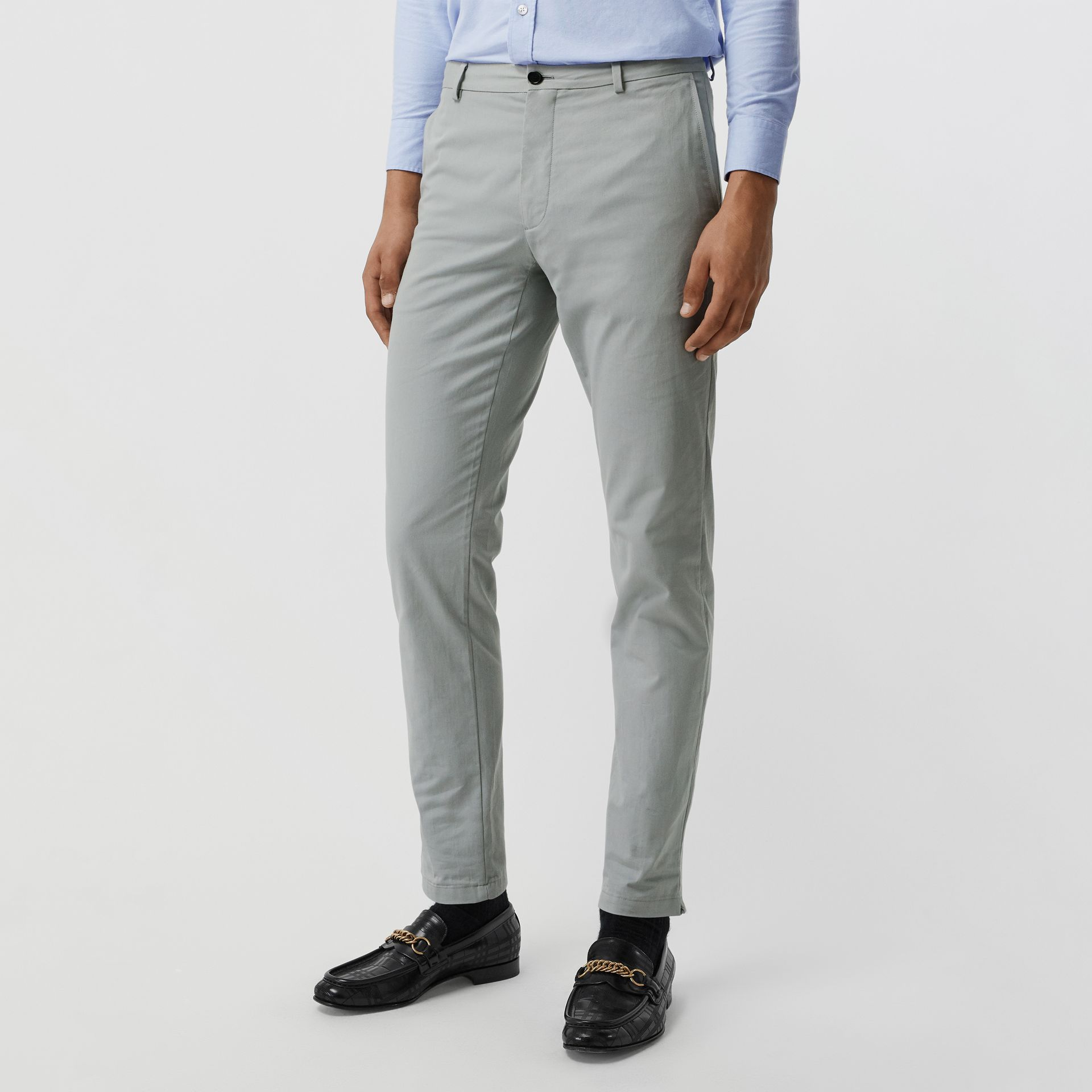 Slim Fit Cotton Chinos in Blue Grey - Men | Burberry - gallery image 4