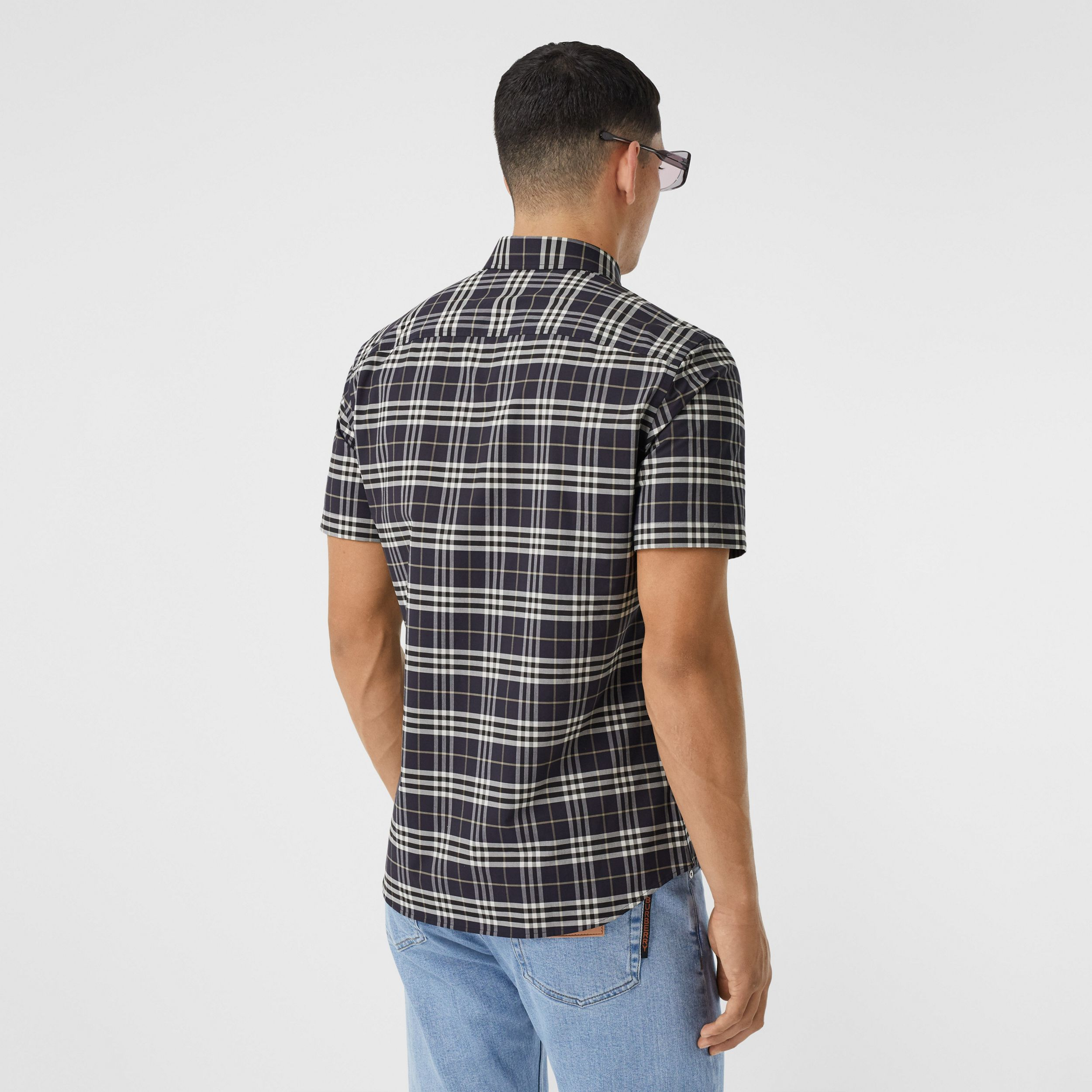 Short-sleeve Small Scale Check Stretch Cotton Shirt in Dark Regency Blue - Men | Burberry - 3