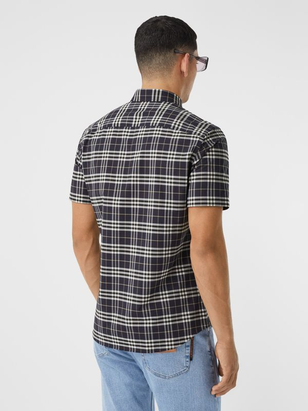 Short-sleeve Small Scale Check Stretch Cotton Shirt in Dark Regency Blue - Men | Burberry - cell image 2