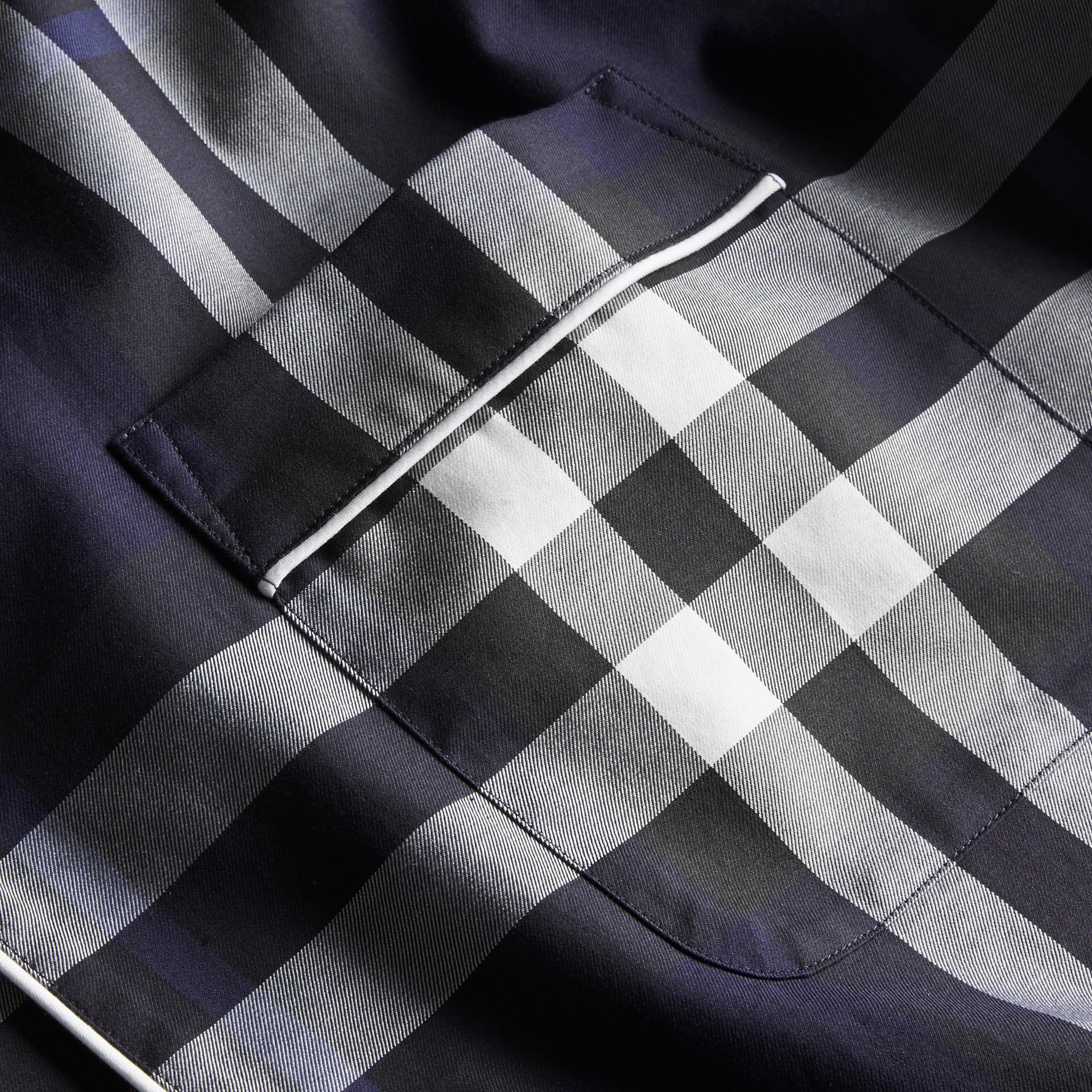 Indigo blue Check Cotton Pyjama-style Shirt Indigo Blue - gallery image 2