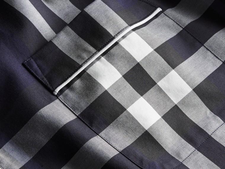Indigo blue Check Cotton Pyjama-style Shirt Indigo Blue - cell image 1