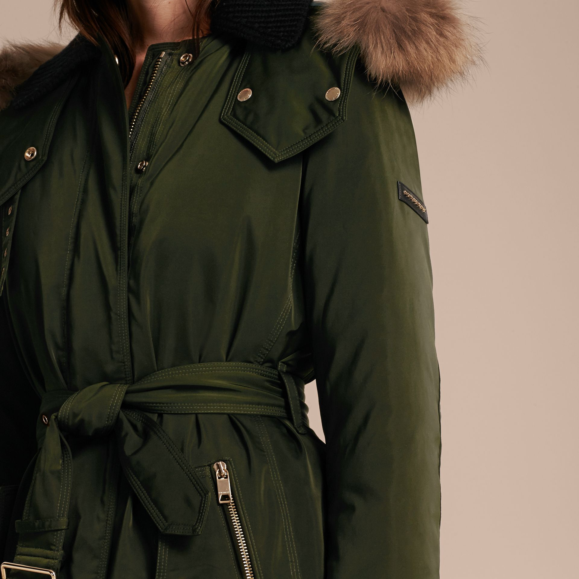 Dark cedar green Down-filled Parka Coat with Detachable Fur Trim Dark Cedar Green - gallery image 5