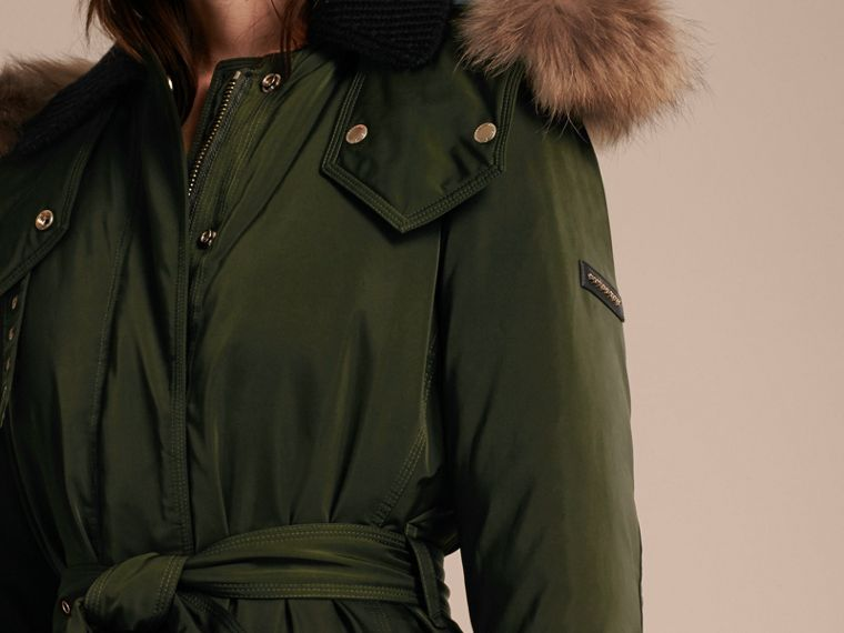 Dark cedar green Down-filled Parka Coat with Detachable Fur Trim Dark Cedar Green - cell image 4