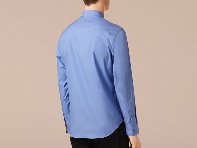 Hydrangea blue Check Detail Stretch Cotton Poplin Shirt - cell image 1