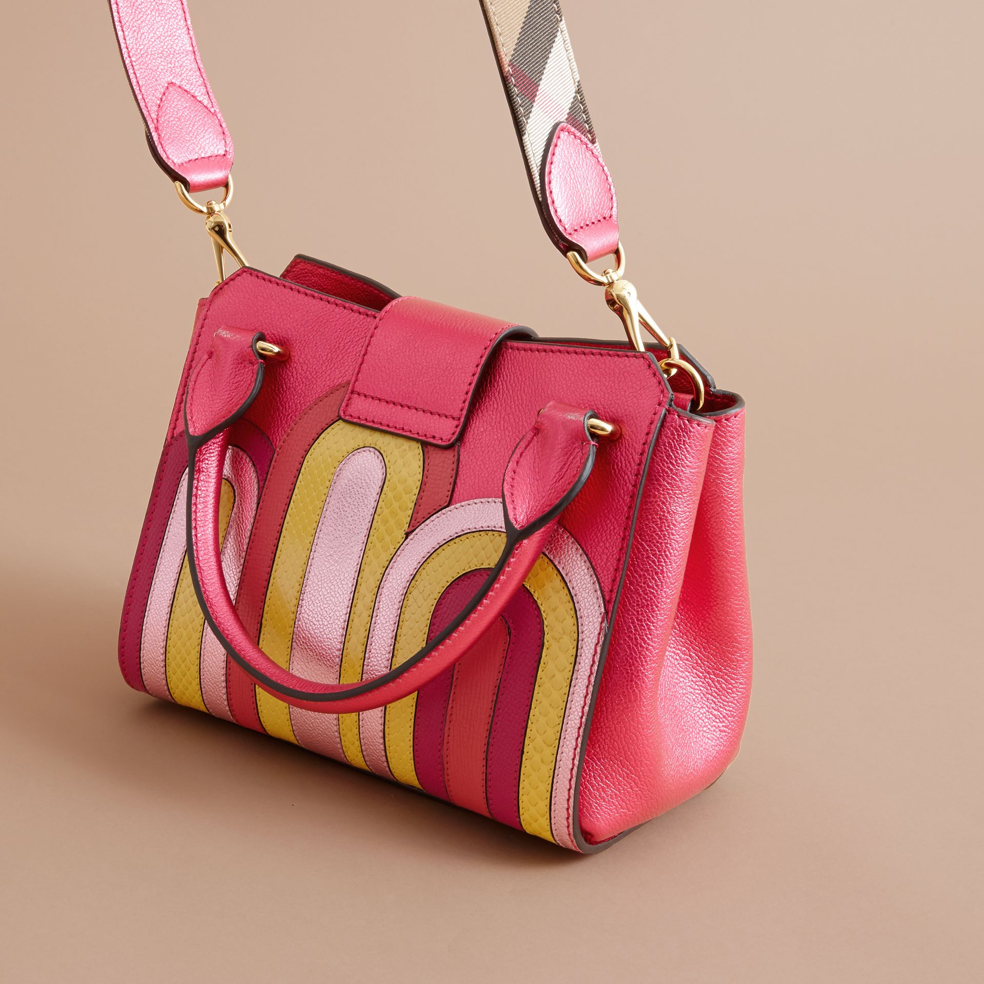The Small Buckle Tote in Metallic Leather with Snakeskin Appliqué - gallery image 5
