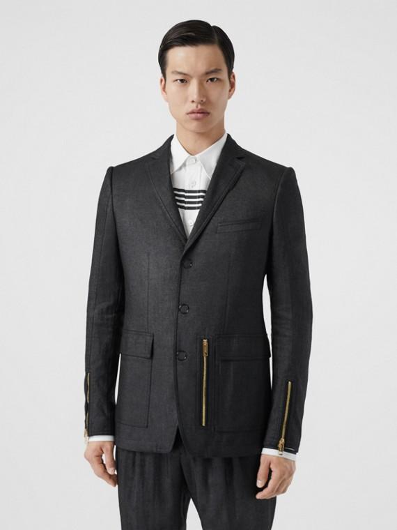 Slim Fit Zip Detail Linen Blend Tailored Jacket in Black
