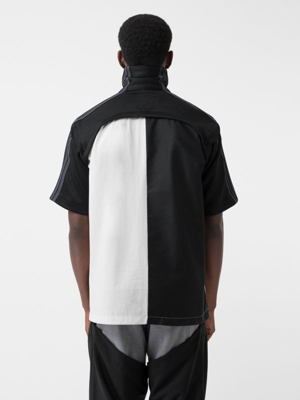 Short-sleeve Track Top Panel Montage Print Shirt in Black - Men | Burberry - cell image 2