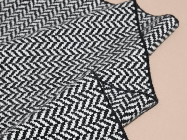 Negro/blanco Bufanda en lana y cachemir en espiguilla gruesa - cell image 1