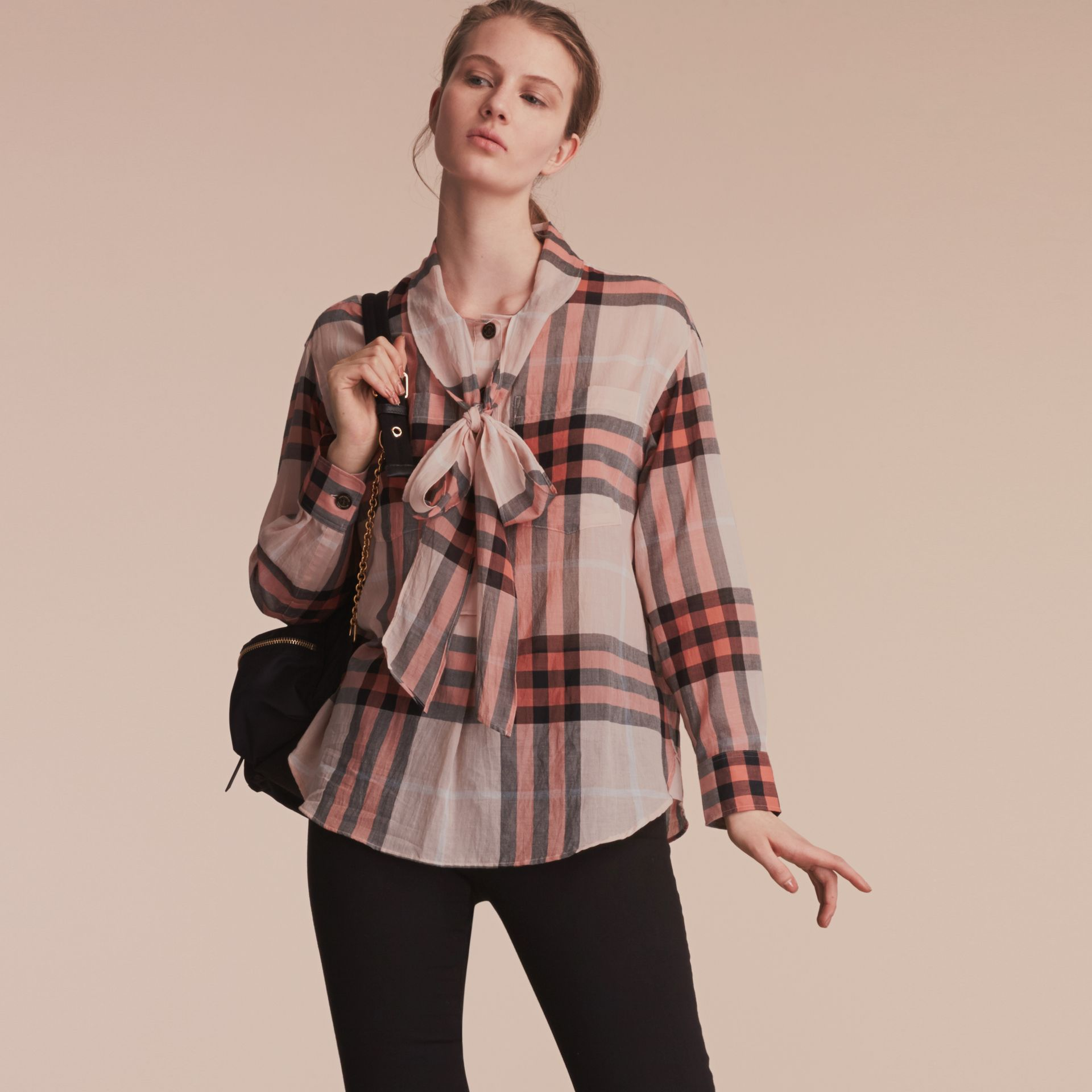 Check Tie Neck Cotton Shirt in Apricot - Women | Burberry Singapore - gallery image 6