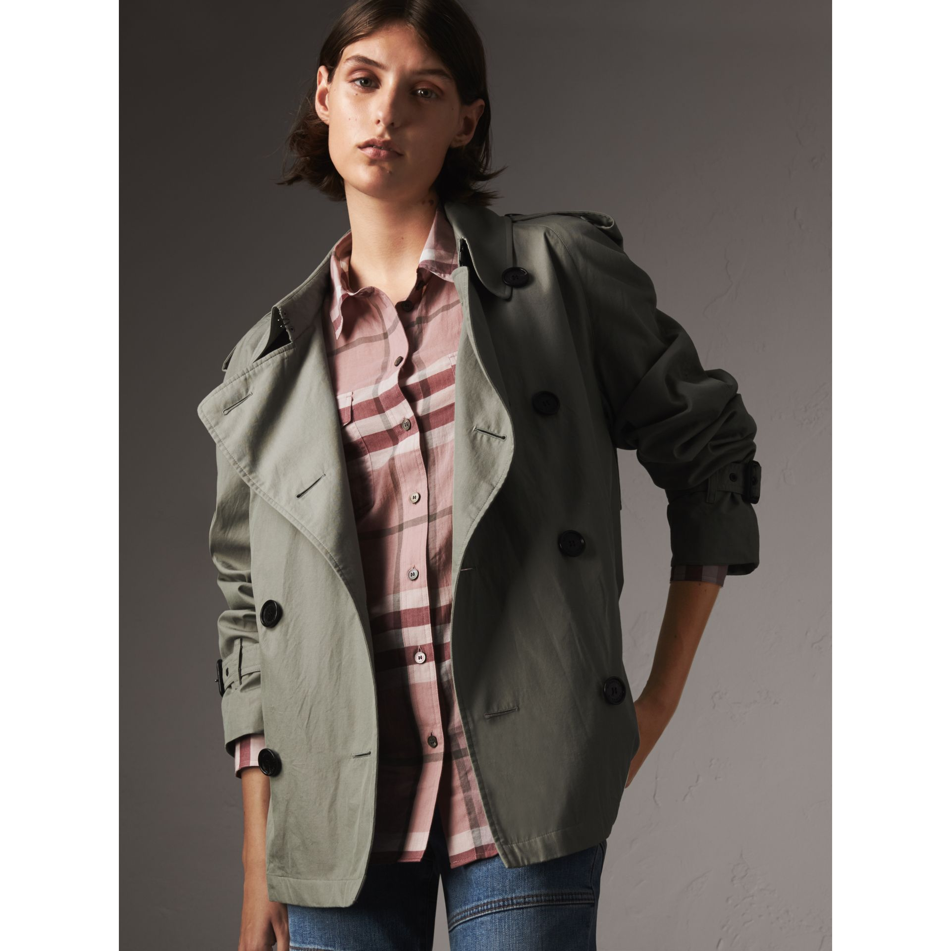 Check Cotton Shirt in Antique Pink - Women | Burberry - gallery image 5