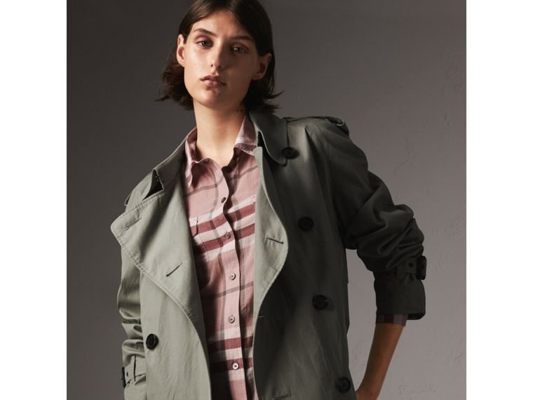 Check Cotton Shirt in Antique Pink - Women | Burberry United States - cell image 4