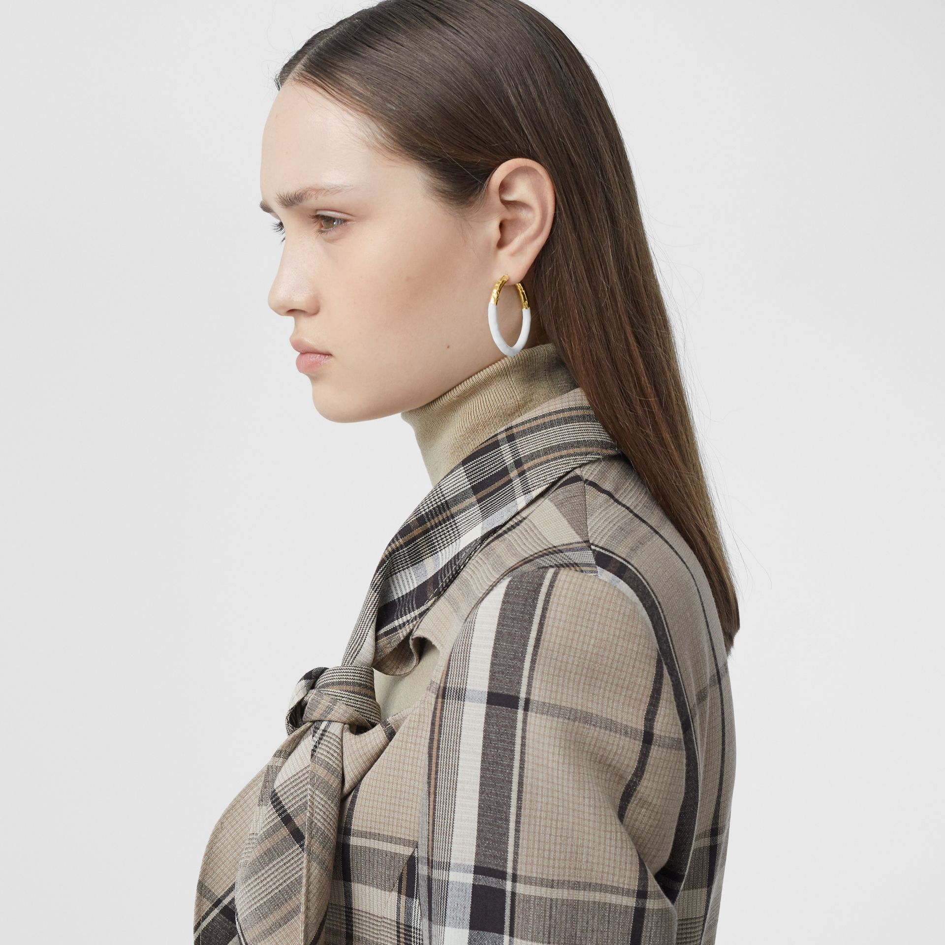 Enamel and Gold-plated Hoop Earrings in Light Gold/white - Women | Burberry United Kingdom - gallery image 2