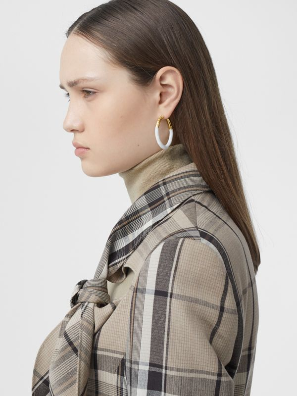 Enamel and Gold-plated Hoop Earrings in Light Gold/white - Women | Burberry United Kingdom - cell image 2