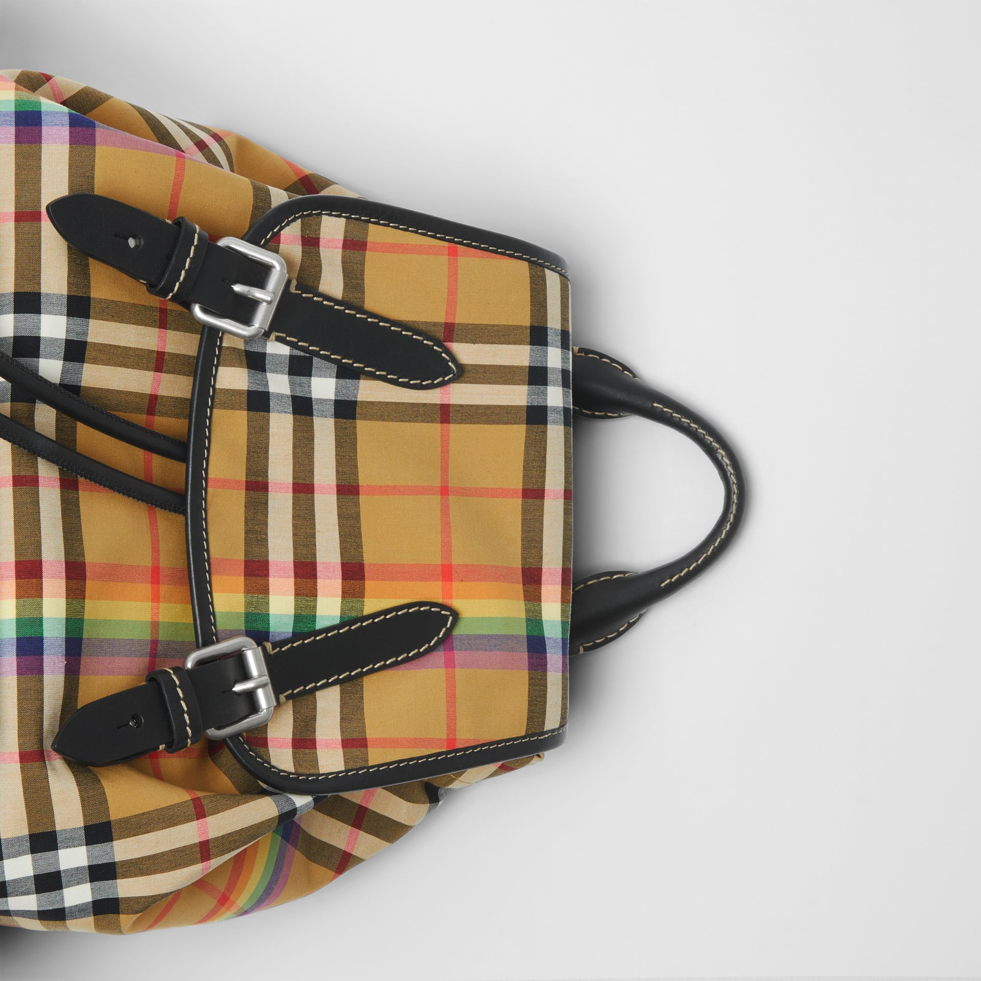 The Medium Rucksack in Rainbow Vintage Check in Antique Yellow - Women | Burberry United Kingdom - gallery image 1