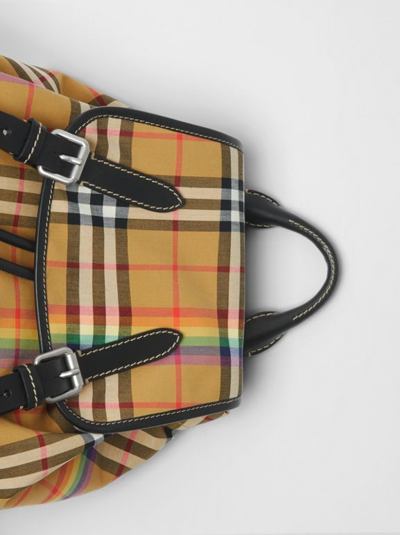 The Medium Rucksack in Rainbow Vintage Check in Antique Yellow - Women | Burberry United Kingdom - cell image 1