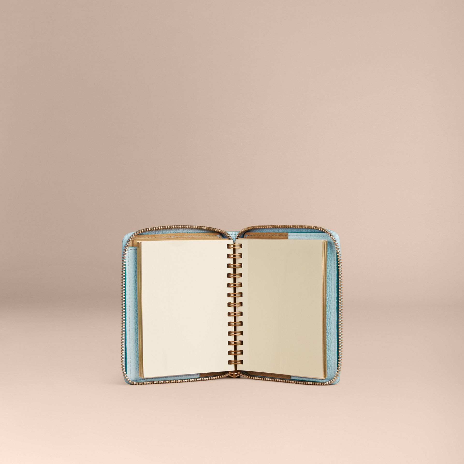 Bright mineral blue Ziparound Embossed Check Grainy Leather Mini Notebook Bright Mineral Blue - gallery image 5