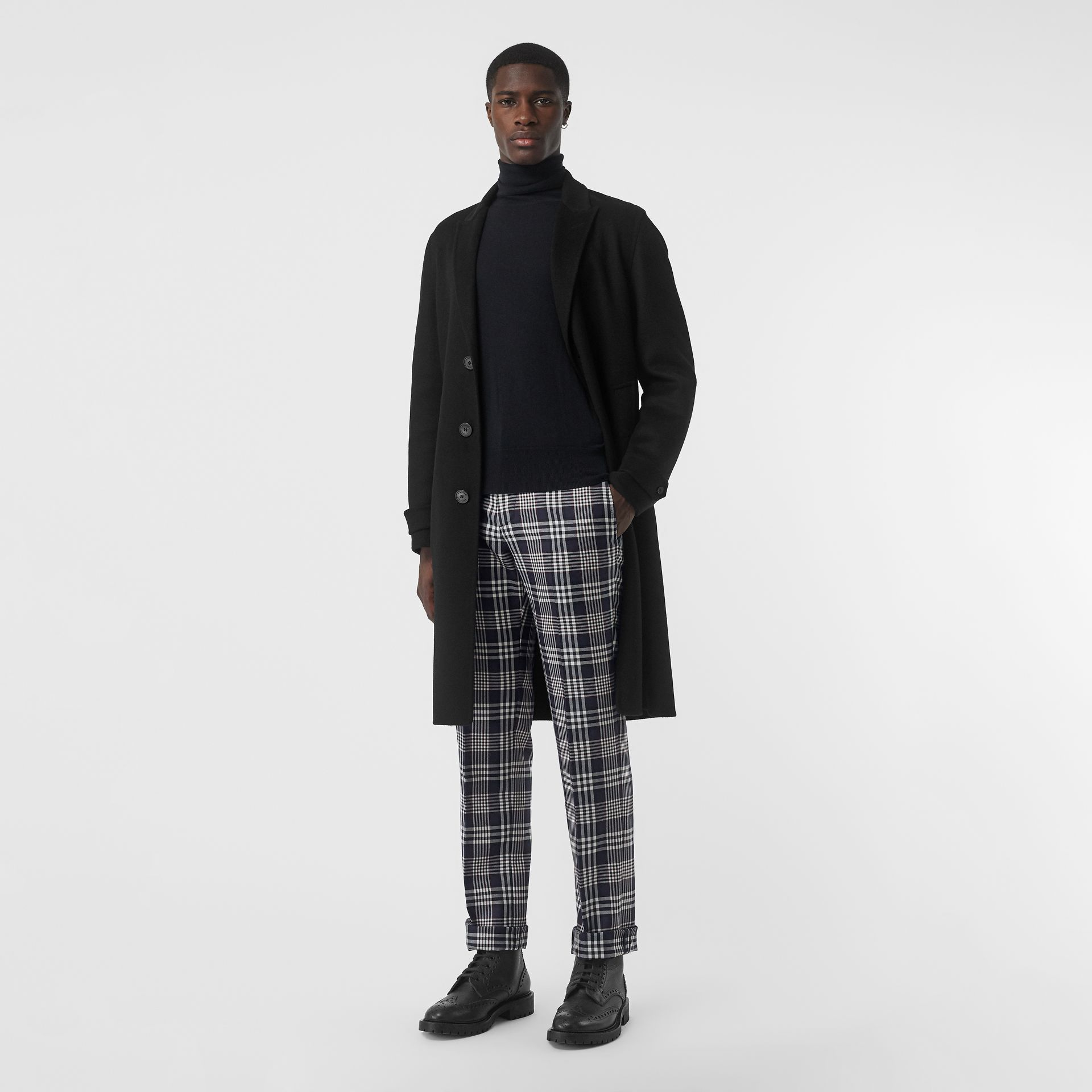 Slim Fit Check Wool Mohair Silk Tailored Trousers in Ink Blue - Men | Burberry - gallery image 0